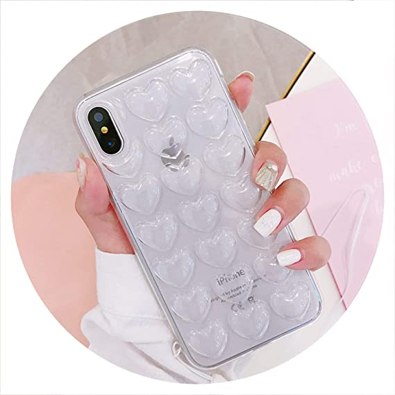494d2213d0 Amazon.com: 3D Love Heart Phone Case for iPhone X XS Max XR Cartoon Cases  for iPhone 7 8 6 6S Plus Soft TPU Back Cover with Lanyard,Transparent,for 6  Plus ...