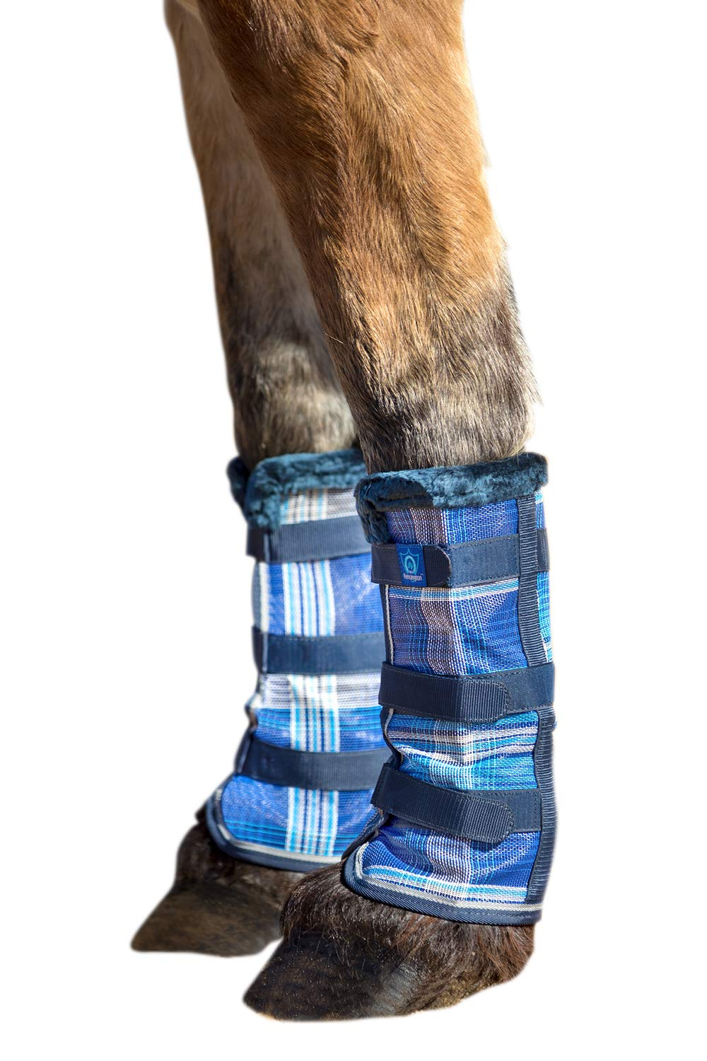 Kensington Draft Fly Boots with Comfortable Fleece Trim - Kentucky Blue - Stay-Up Technology - Protection from Insect Bites and UV Rays - Set of 2 by Kensington Protective Products