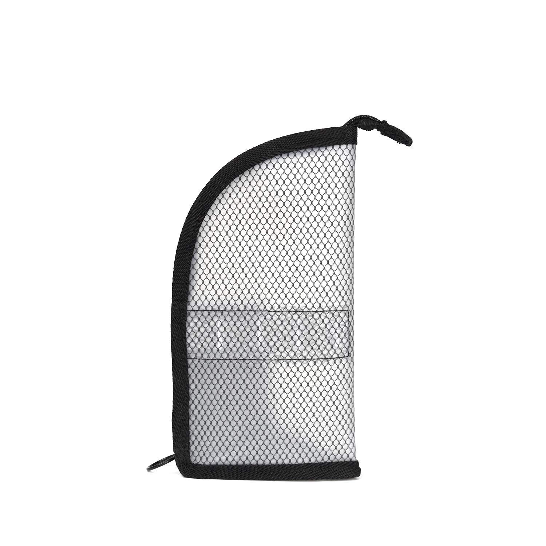 Patu Transparent Travel Toiletry Bag, Standing Waterproof Mesh Pouch, Toothbrush Holder Shaving Washing Kits Organizer, Personal Care Trip Case, Black