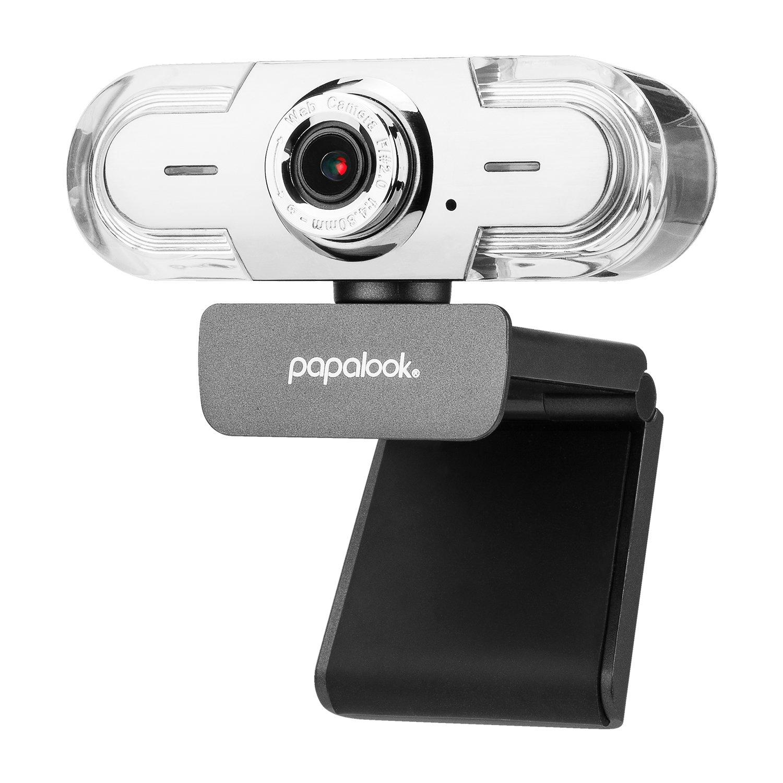 Webcam 1080P HD, PAPALOOK PA452 PRO Web Cam PC avec Microphone Anti-bruit, Plug et Play, USB Caméra Pour Skype, Youtube, Twitter, Compabilité Avancée Pour MAC, Windows XP / 7 / 8 / 10 USB Caméra Pour Skype