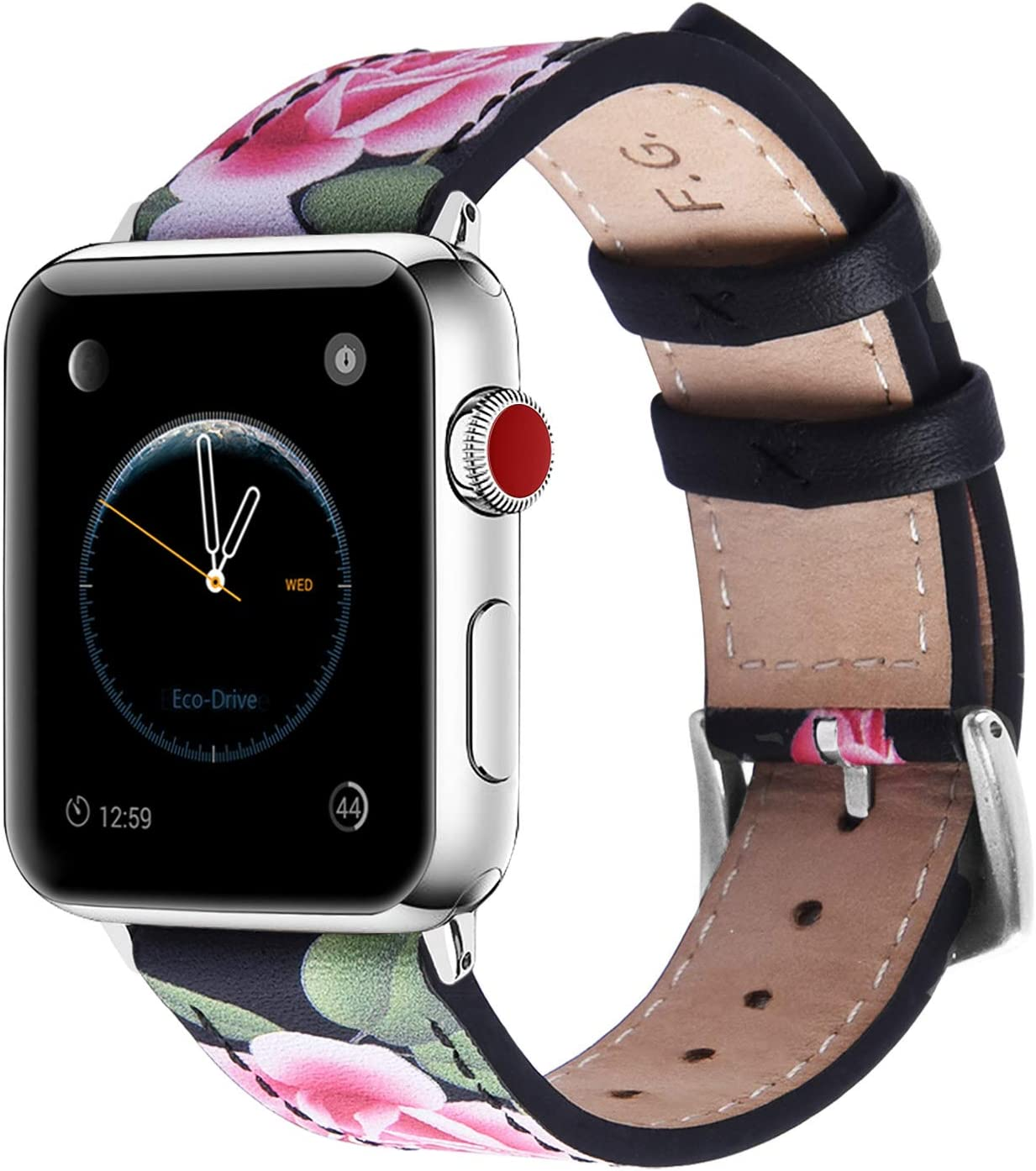 Fullmosa Apple Watch Band 42mm 44mm 40mm 38mm, Galeri Printed Leather Apple Watch Band Compatible for iWatch Series SE/6/5/4/3/2/1,42mm Black