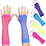 Toy Cubby Funky Retro Classic Style Colorful Long Mesh Fishnet Fingerless Wrist Gloves - 6 Pieces