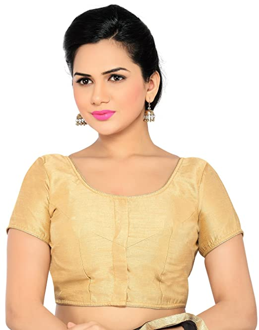 c9f8eccc9ed966 Studio Shringaar Gold Faux Silk Smart Blouse With Golden Lace Trim. (Size -  42): Amazon.in: Clothing & Accessories