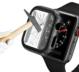 Konafei Carbon Fiber Texture Hard Case Compatible with Apple Watch Series SE/6/5/4, 44mm Case with Tempered Glass Screen Protector, Thin Cover Bumper Full Protective for iwatch