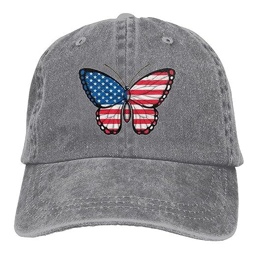 ONE-HEART HR American Flag Butterfly Baseball Caps Denim Hats For ... 1d0acd987c7