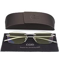 CGID Occhiali da Lettura Lega di Alluminio-Magnesio Braccia per Lettori Unisex Leggeri Senza Montatura Rettangolari Uomo Donna Cardini a Molla Fashion