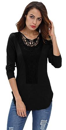 b16682f5e5b66 EOZY Femmes Top à Dentelle Noire Manche Longue Chemise Tops Blouse Size1