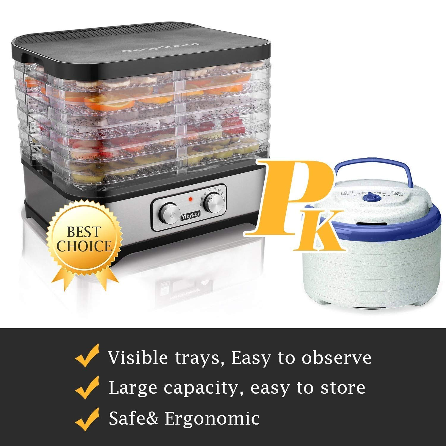 Food Dehydrator Machine by Electricity,5 Trays/Knob Button/250W/Temperature adjustable(95-158℉) by Homdox (Image #6)