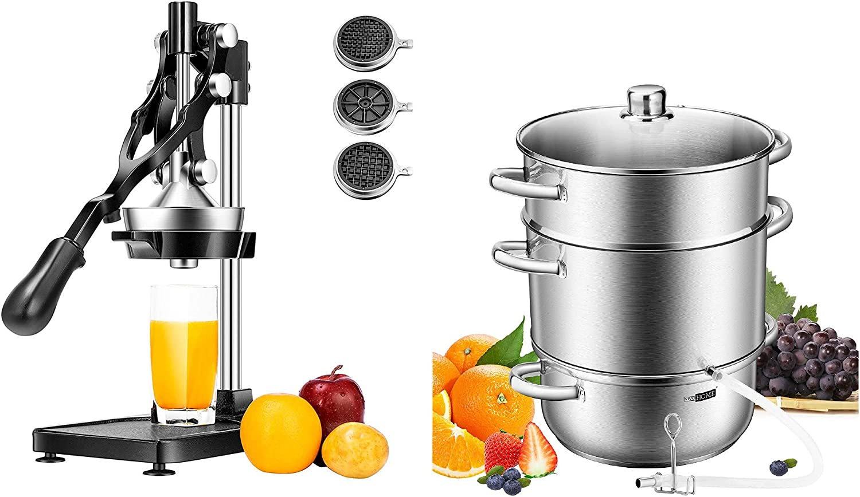 VIVOHOME 3 in 1 Heavy Duty Multifunctional Manual Hand Press Citrus Orange Juicer Squeezer Fries Apple Cutter Machine & Stainless Steel Juice Steamer Extractor Fruit Vegetables Juicer Steamer Pot