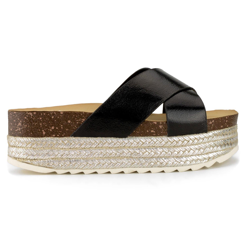 0abb543c7c9 RF ROOM OF FASHION Women s Open Toe Espadrille Lug Sole Summer Slip on Platform  Footbed Slides larger image