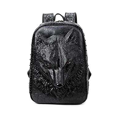 4c97ac2c14e0 Image Unavailable. Image not available for. Color  UniquQ 3D Wolf Studded College  Backpack for Men and women Unisex Vivid Animal Print Laptop Backpacks
