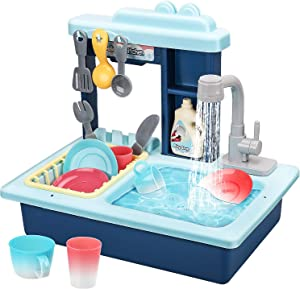 STEAM Life Kitchen Play Sink Toy with Color Changing Toy Dishes - Play Sink with Running Water - Pretend Play Kitchen Toys for Girls and Boys - Kitchen Toddler Sink Toy for Kids (Blue)