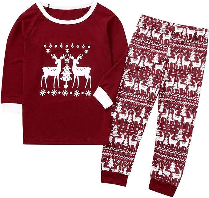 Pantalon 1-8 Ans Enfant Pyjama Noel Bebe Garcon Fille Dinosaure Vetement de Ensemble No/ël Tee Shirt