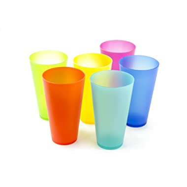 6 Pc Colorful Plastic Cups - Reusable Party Cups - BPA-Free Picnic Drinking Cups