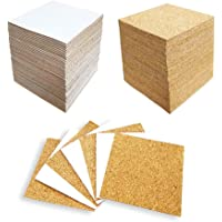 Hangnuo 100 Pack Self-Adhesive Cork Squares for Tile Coasters, 4 X 4 Inches Cork Backing Sheets Mini Tiles Board for DIY…