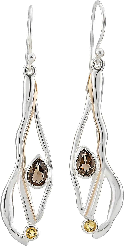 Banyan Jewellery - Pendientes de gota de plata de ley 925 con cuarzo ahumado y citrino para mujer