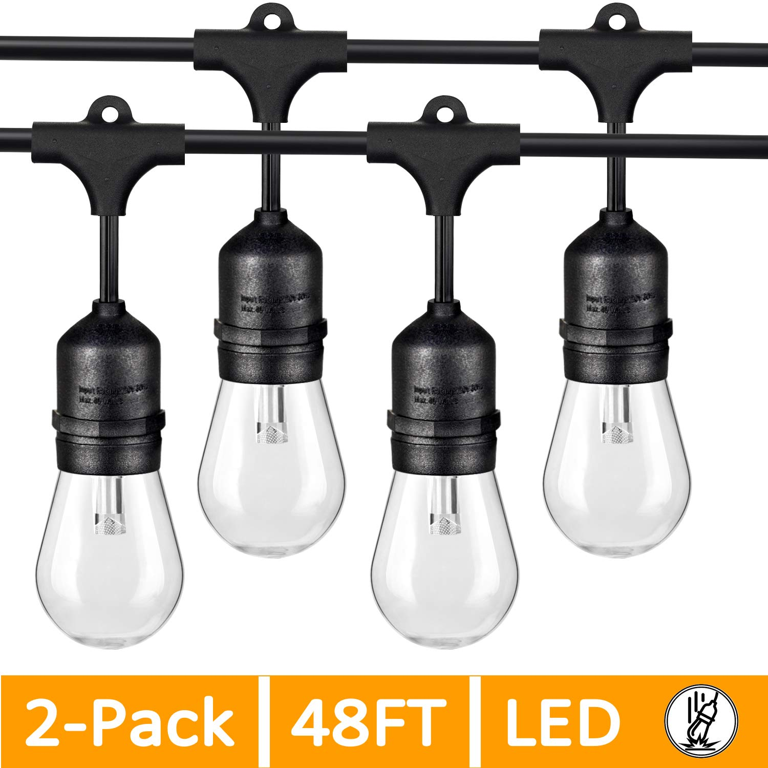 Dimmable Outdoor String Lights for Patio, LED Edison Bulb String Lights Weatherproof IP65, Commercial Grade Outdoor Cafe Lights Bistro Lights Shatterproof 48Ft for Pergola Deck Backyard(96Ft in Total) by Mlambert