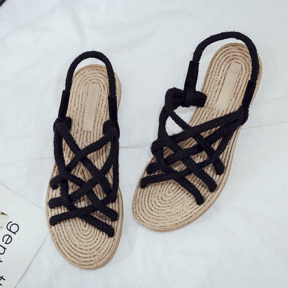 XING GUANG Neue Sommer Stroh Sandalen Frauen Banding Flachboden Handgemachte Seil Woven Schuhe Strand Schuhe,Black(39)  Black(39)