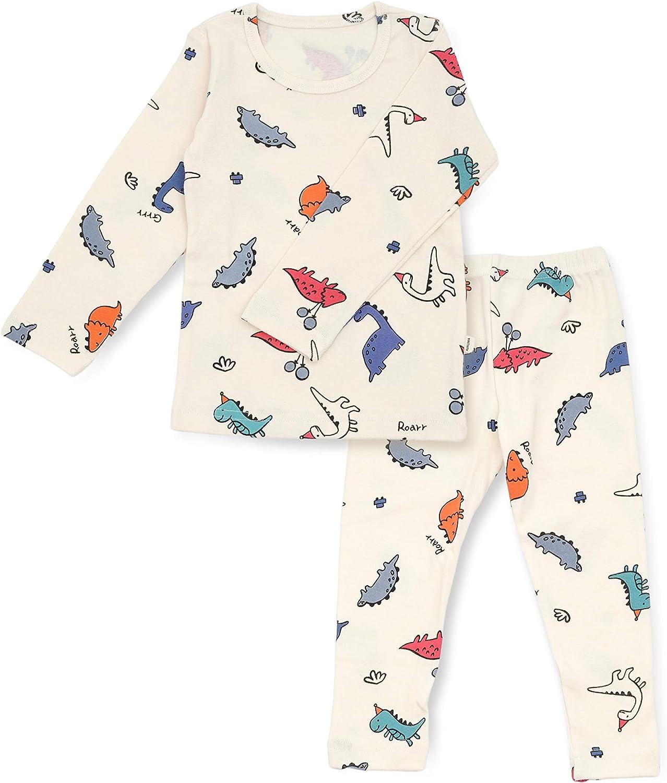 12M-7T 100/% Cotton 2pcs Infant Kids Boys Loungewear Pajama Sleepwear Set Dino