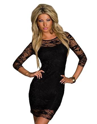 979418dbbe93 Tailliertes Spitzen-Minikleid Spitze mit feinem Stretch-Stoff blickdicht  unterlegt Abendkleid Cocktailkleid