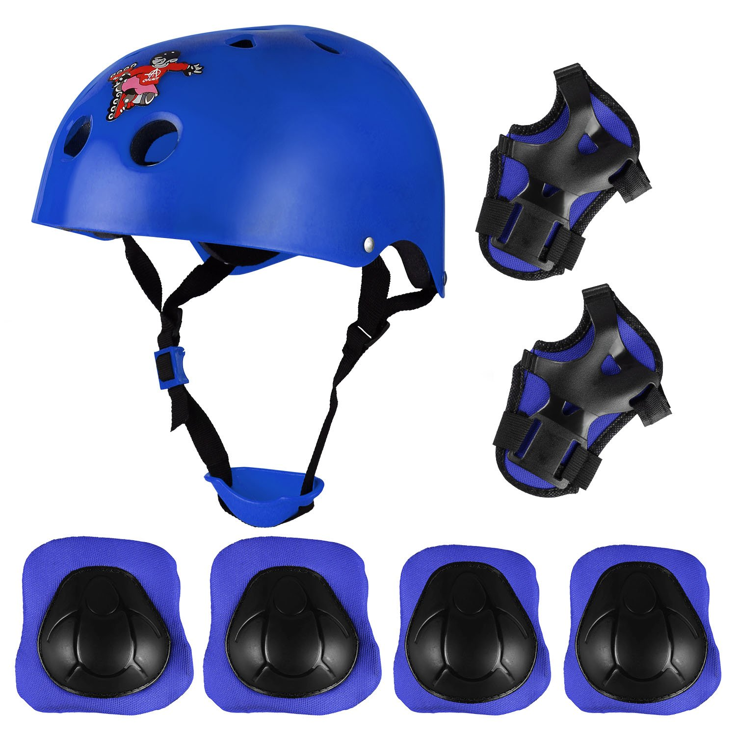 AODIChild Multi-Sport Helmet With Knee Pads Elbow Wrist Protection Set for Scooter and Rollerblading - Multiple Colors