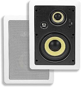 Monoprice 3-Way Aramid Fiber In-Wall Speakers - 6.5 Inch (Pair) Titanium Silk Dome Tweeters - Caliber Series