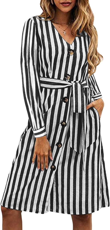 Stripe Long Sleeve Midi Dress