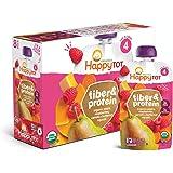 Happy Baby Happy Tot 阶段 4 纤维和蛋白质 梨 覆盆子 胡桃 南瓜和胡萝卜 4 盎司袋装(16 袋)婴儿食品 不含奶制品 不含麸质 犹太洁食认证(包装可能有所不同)
