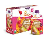 Happy Tot Organic Stage 4 Fiber & Protein, Pears/Raspberries/Butternut Squash/Carrots, 4 Ounce (Pack of 16) - Packaging May Vary