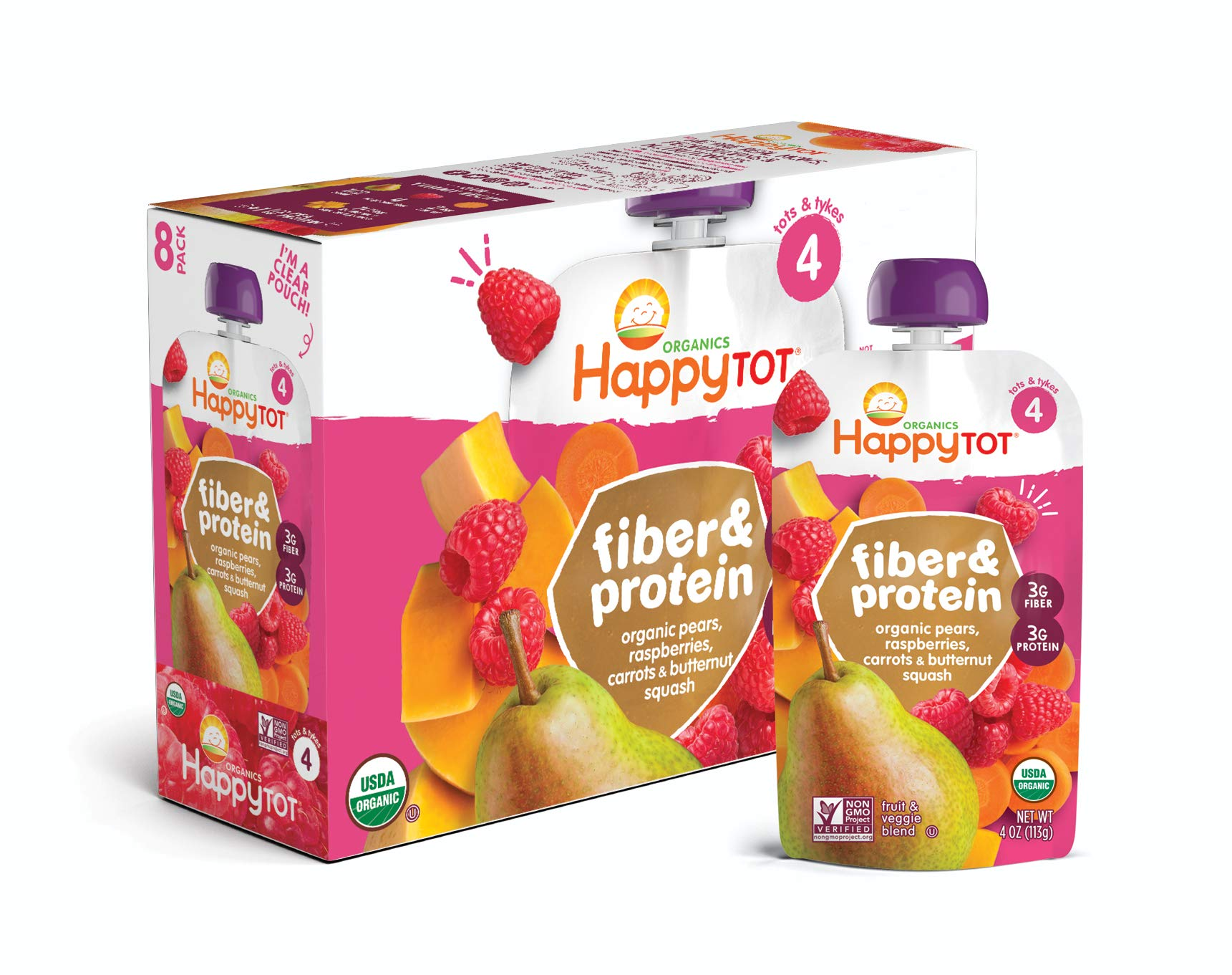 Happy Tot Organic Fiber & Protein Pouch Stage 4 Pears Raspberries Butternut Squash & Carrots, 4 Ounce Pouch (8 Pack) by Happy Baby