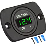 DC 12V Car Voltmeter Gauge with LED Display Panel, Waterproof Motorcycle Digital Voltage Meter with Terminals for Boat Marine