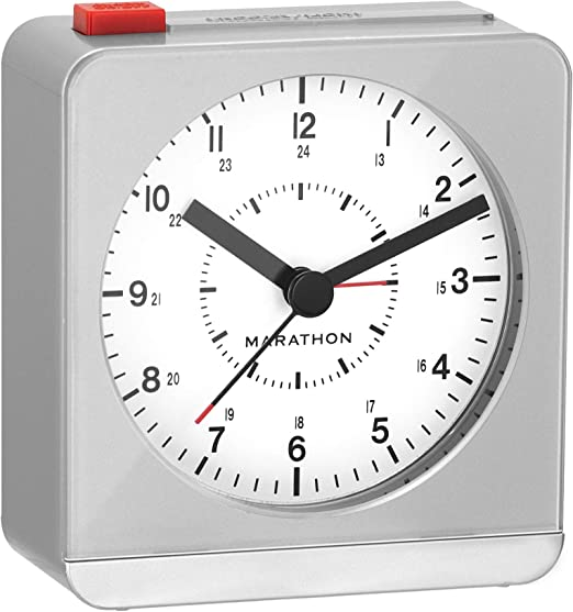 Batteries Included Marathon CL030053BL Classic Silent Sweep Alarm Clock with Auto Night Light