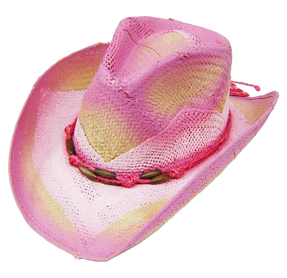 Modestone Women's Straw Cowboy Hat O/S Pink 1952