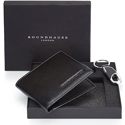 Roundhause  Designer Slim Bi fold Mens Wallet Real Leather RFID blocking Credit Card Holder Organiser Paper Money Purse and Leather Key holder Gift Box Set (Black)