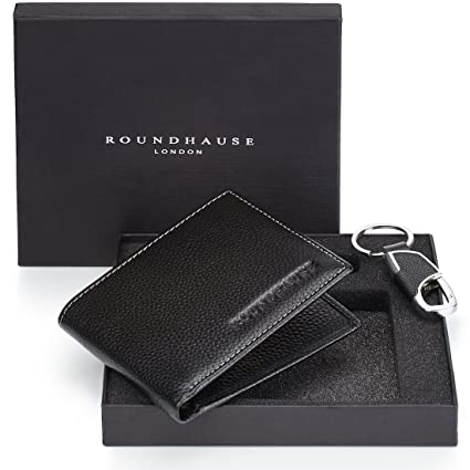 84b54841b4a7 Roundhause Black Designer Slim Bi fold Mens RFID Blocking Wallet Real  Leather Credit Card Holder Organiser