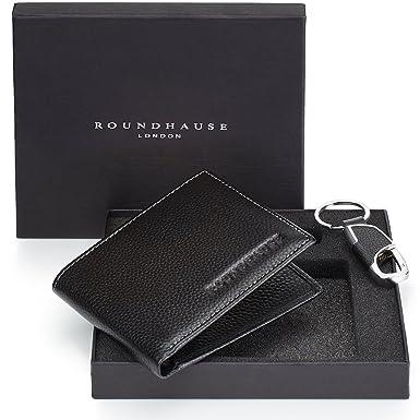0da9a42152 Roundhause Designer Slim Bi Fold Mens Portafoglio in vera pelle RFID Porta  carte di credito Banconote