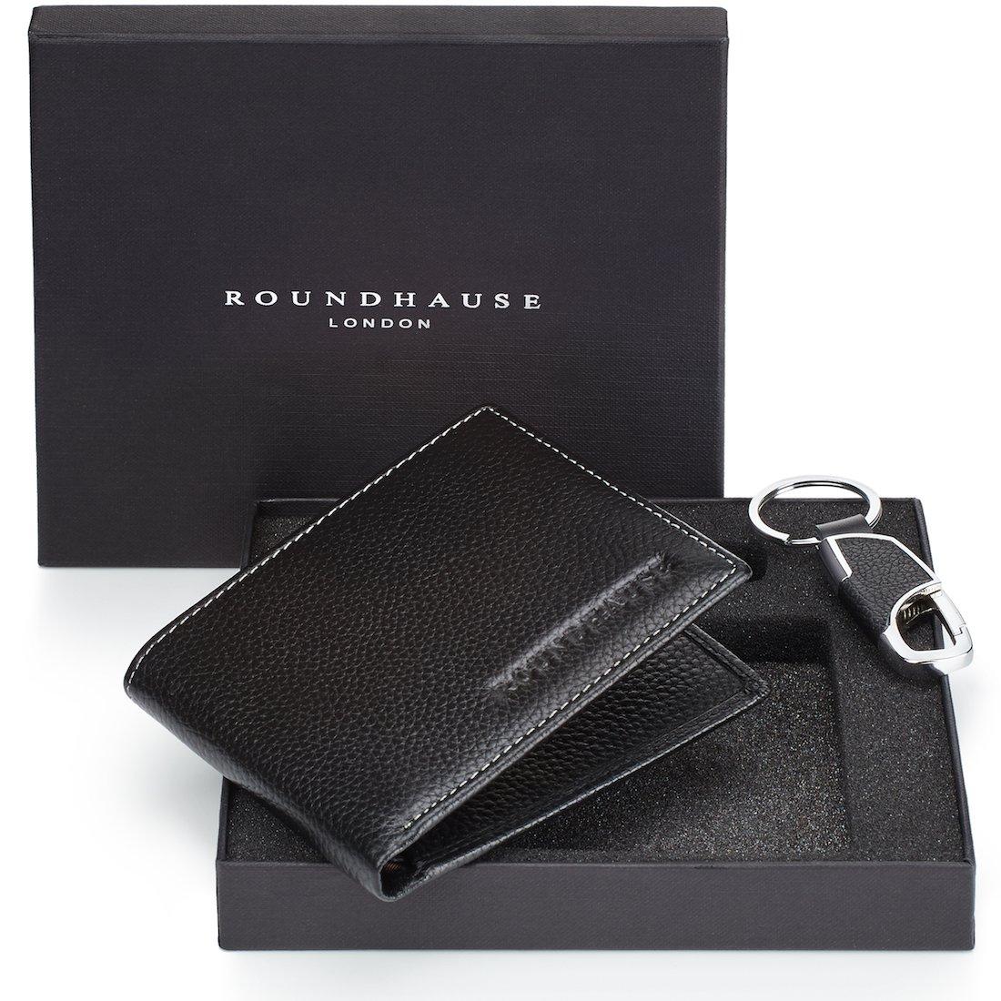 110efa89756f Roundhause Black Designer Slim Bi fold Mens RFID Blocking Wallet Real  Leather Credit Card Holder Organiser