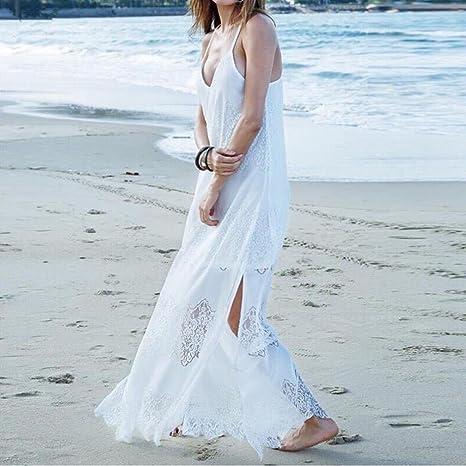 BBsmile 💖Vestido para Mujer Mujeres Casual Elegante Bohemio Algodón Vestido Suelto Largo Playa Cuello V sin Mangas: Amazon.es: Ropa y accesorios