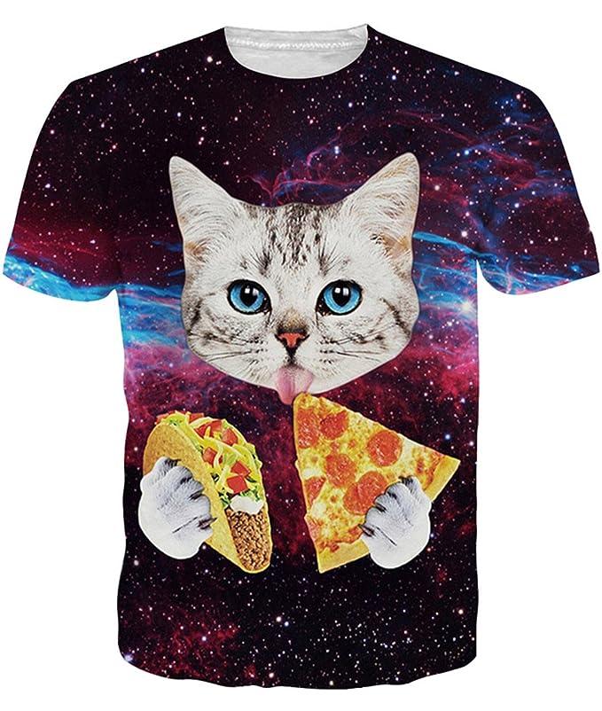 Idgreatim Summer Women Short Sleeve 3D Printed Pizza Cats Tshirt Tees Top M
