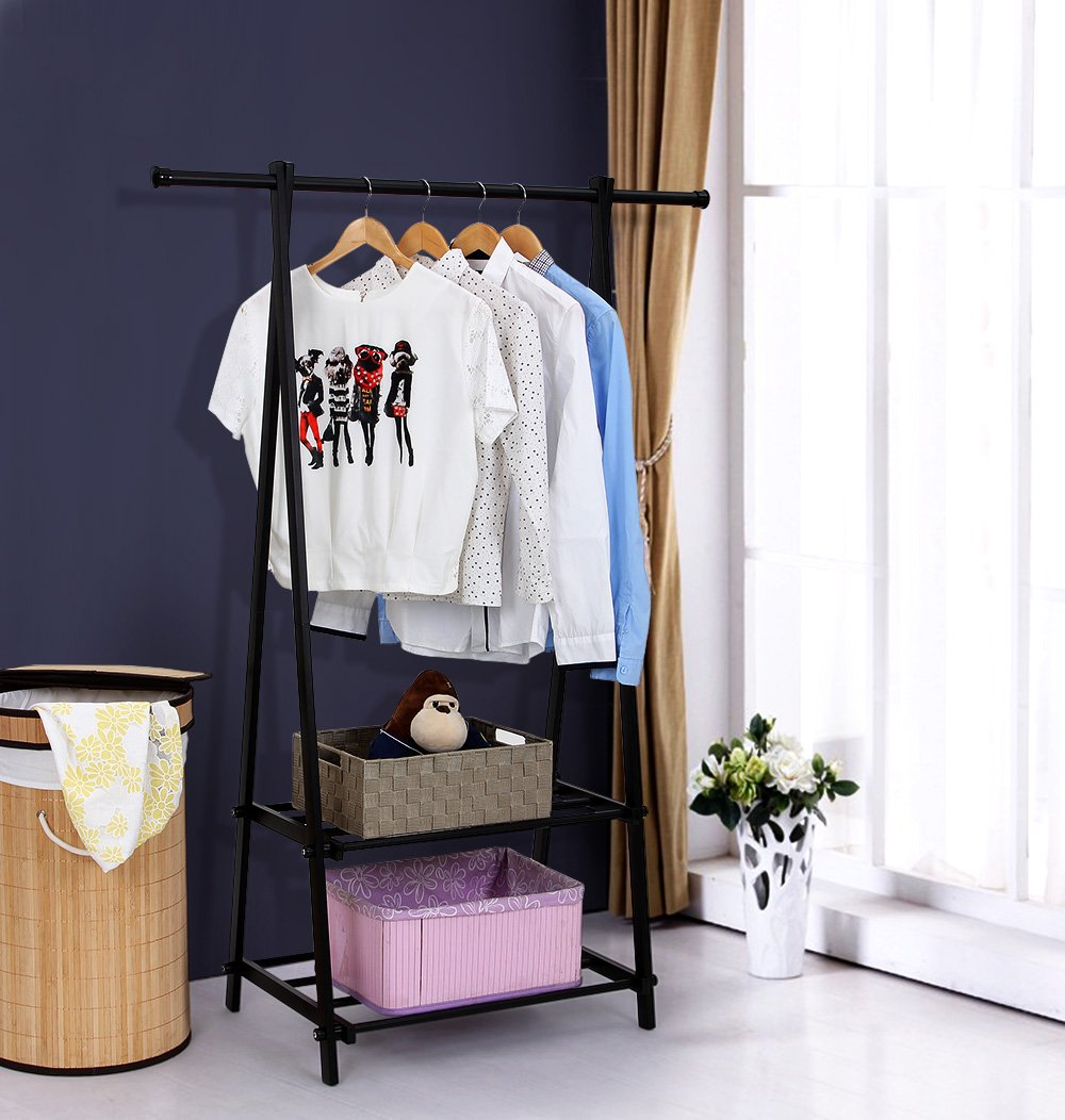 SONGMICS Clothing Garment Rack with 2-Tire Shelf for Shoes Clothes Storage Black URCR22B by SONGMICS (Image #2)