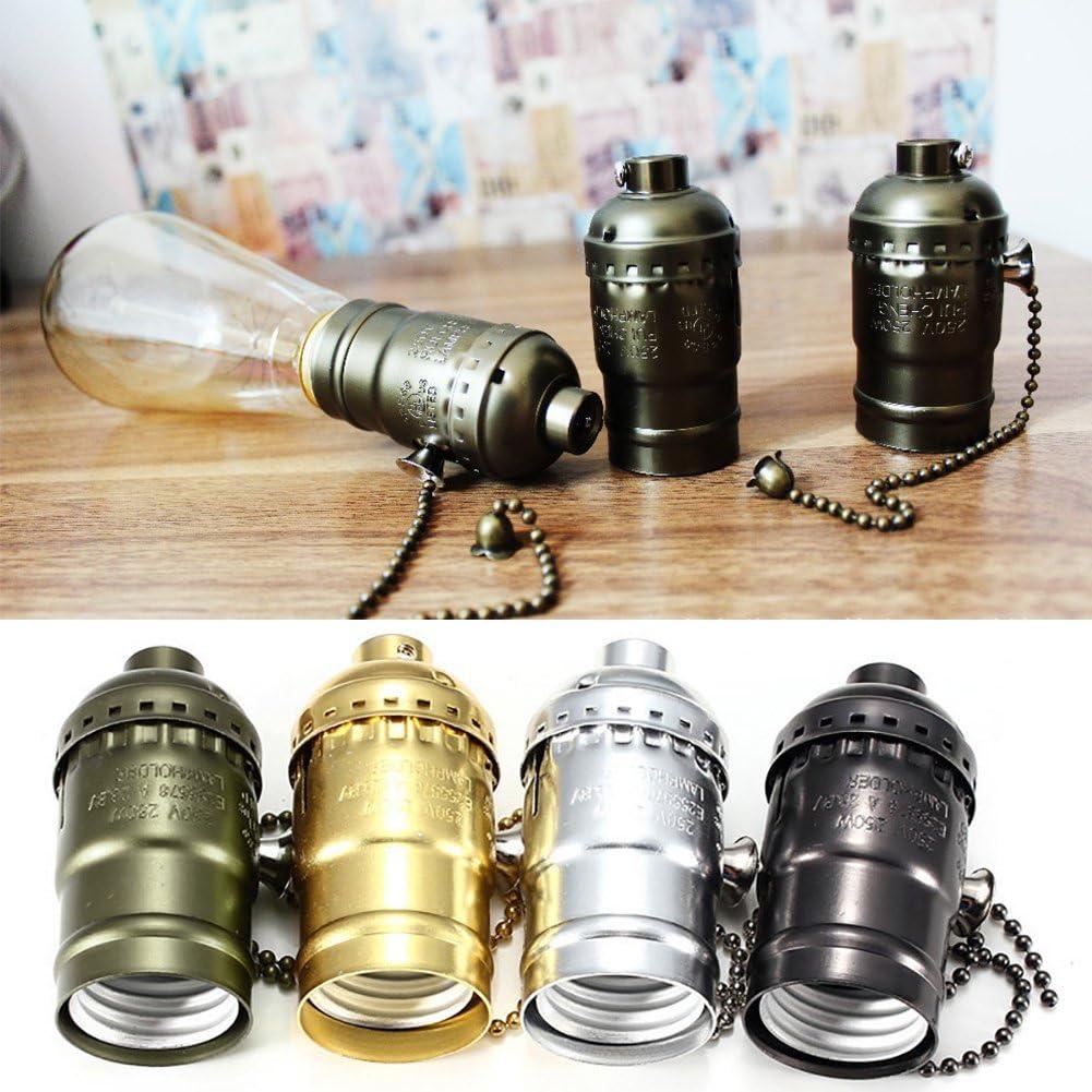 FADDR Edison Vintage Douille /à vis E27 avec interrupteur /à cha/înette Noir avec fermeture /Éclair bronze braun mit rei/ßverschluss
