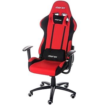 merax® Ajustable Gaming de espalda alta silla de estilo Racing silla de oficina giratoria (ergonómica, color rojo y negro tela: Amazon.es: Juguetes y juegos