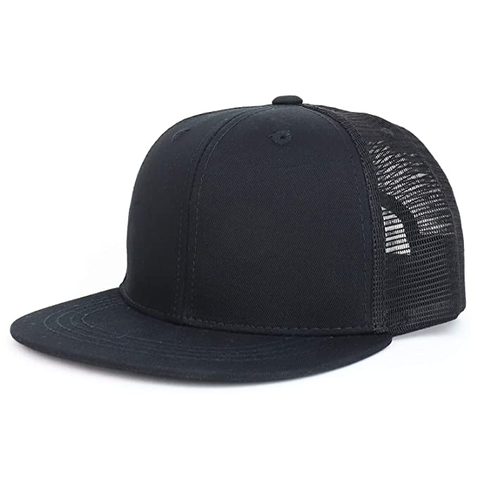 fce7c7987297f Youth Stylish Flat Bill Structured Mesh Back Snapback Trucker Cap - Black  Black