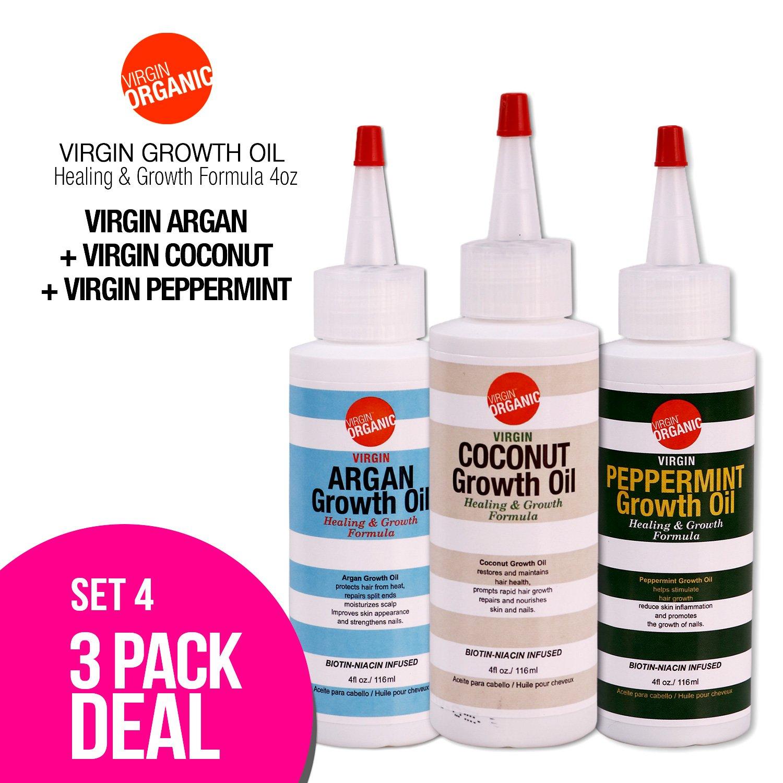 (3-in-One) Virgin Organic Argan, Coconut, Peppermint Growth Oil Healing & Hair Growth Formula 4oz