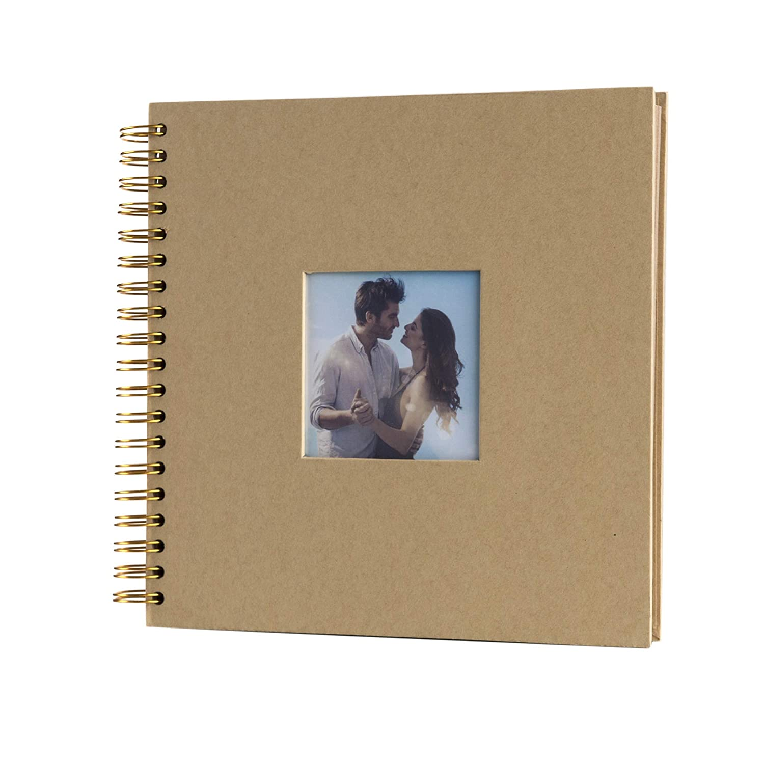 Brown, 10 x 10 inch 10 x 10 Inch DIY Scrapbook Photo Album with Cover Photo 80 Pages Hardcover Craft Paper Photo Album for Guest Book Anniversary Valentines Day Gifts