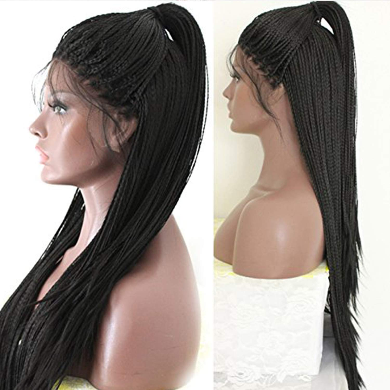 PlatinumHair Lace Front Wigs 24'' Long Braided Synthetic Wigs for Black Women Fully Hand Tied Braided Wig with Baby Hair Heat Resistant Black Color Micro Braids by PlatinumHair