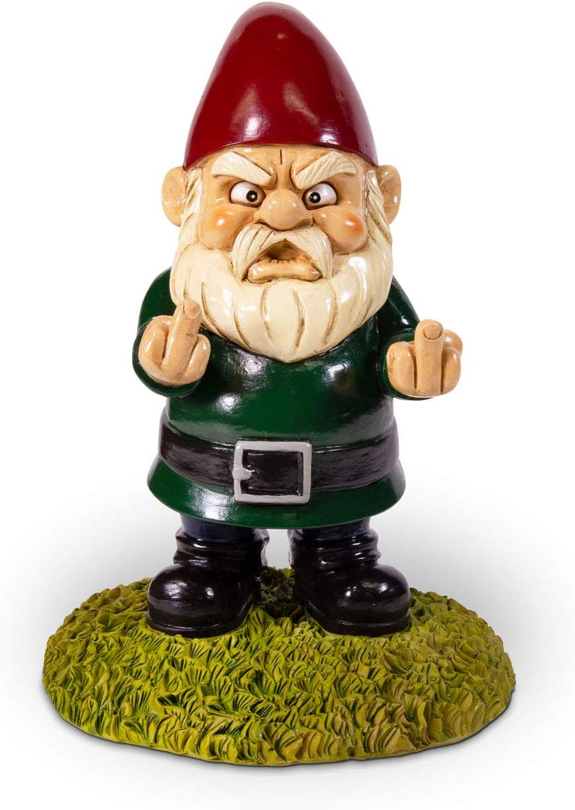 Kwirkworks Funny Garden Gnome - Flipping The Double Bird Middle Finger Lawn Statue Figurine - Funny Gift