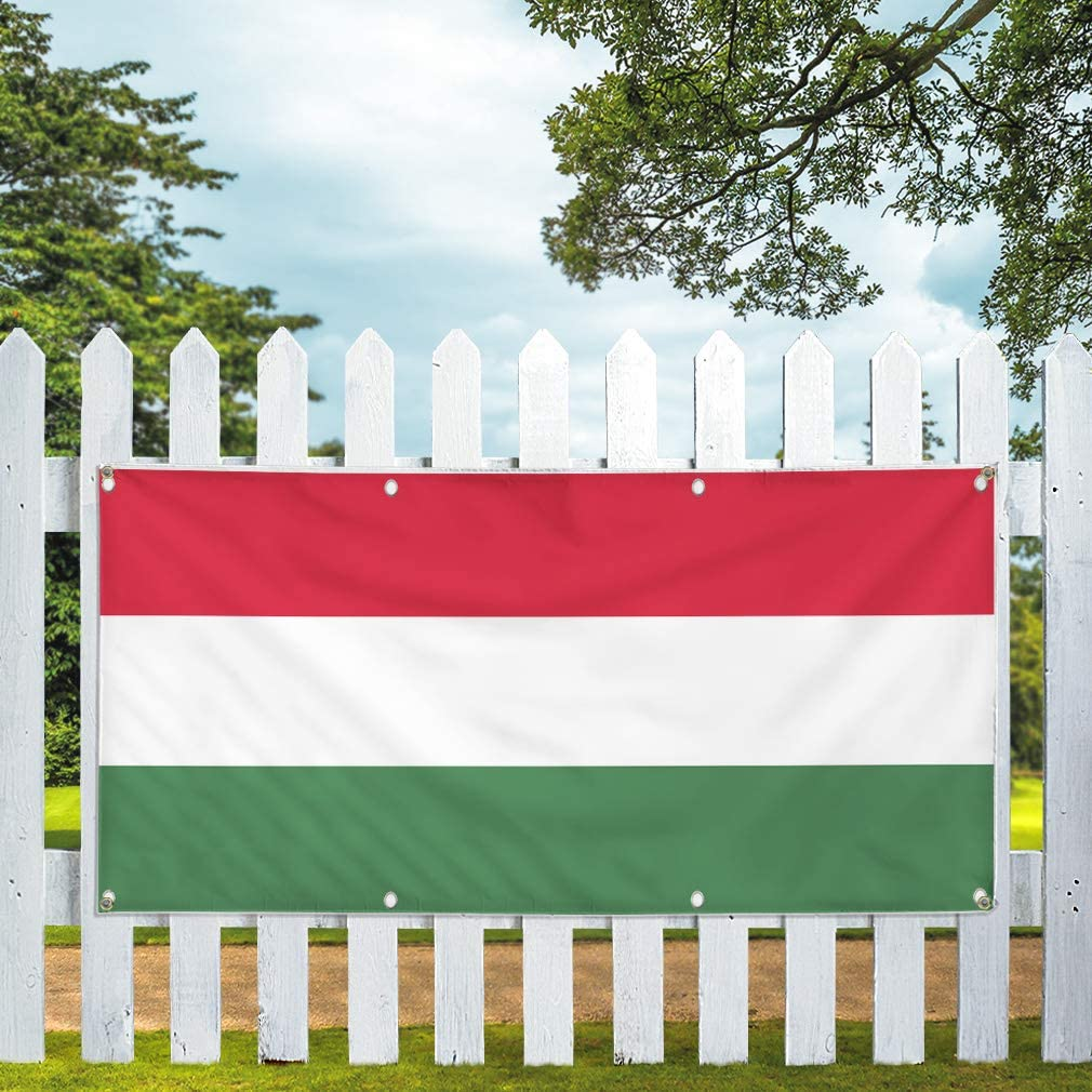 44inx110in Vinyl Banner Sign Hungary Flag Red White Green Countries Marketing Advertising Red Multiple Sizes Available One Banner 8 Grommets