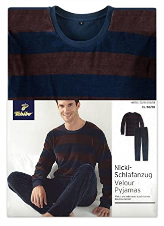 Tchibo TCM Nicki pijama para hombre, colour marrón-azul marino, color - Braun