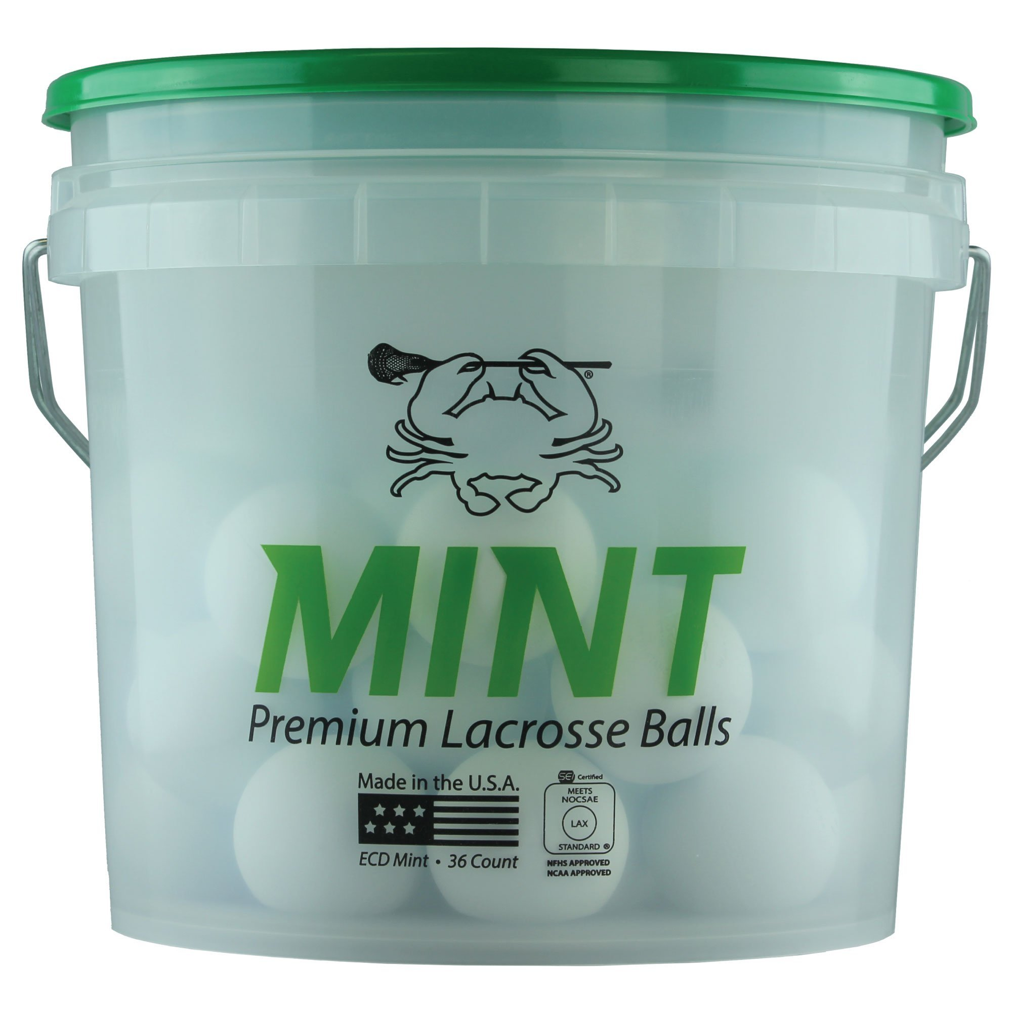 East Coast Dyes (36-Pack) Mint Lacrosse Ball NOCSAE/SEI White Bucket 36-Balls Mint-White-36P by East Coast Dyes